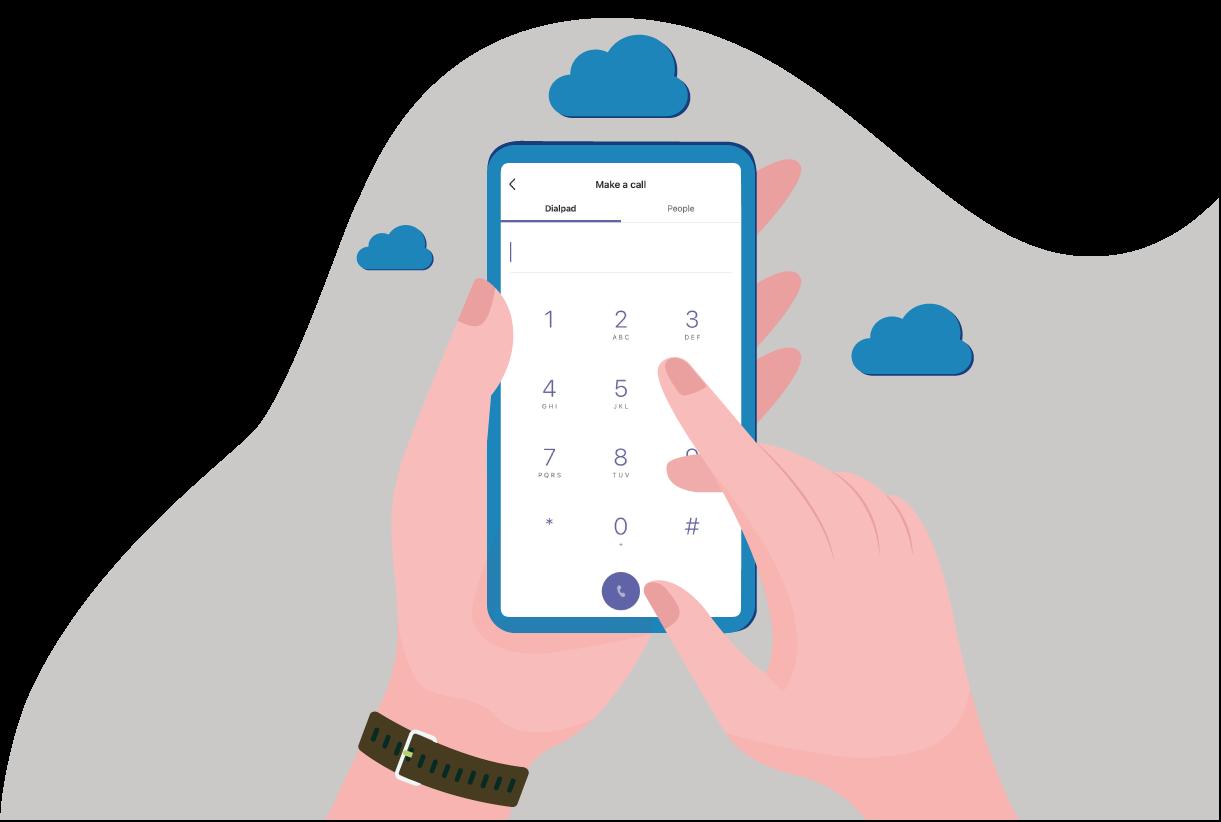 Illustration of BlueSky UC's phone services as Microsoft Teams PBX cloud voice provider